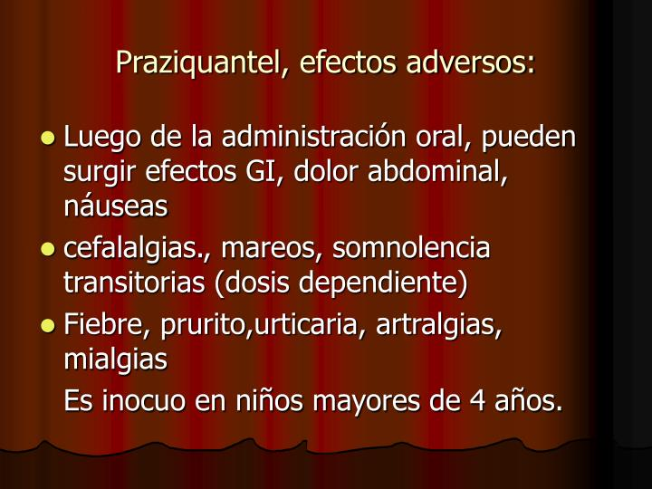 Praziquantel, efectos adversos: