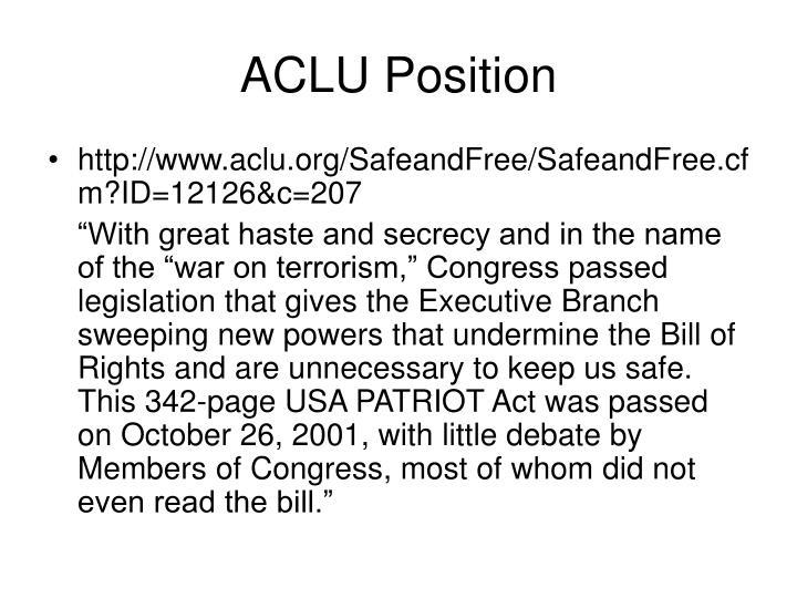 ACLU Position