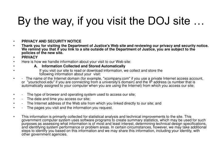 By the way, if you visit the DOJ site …
