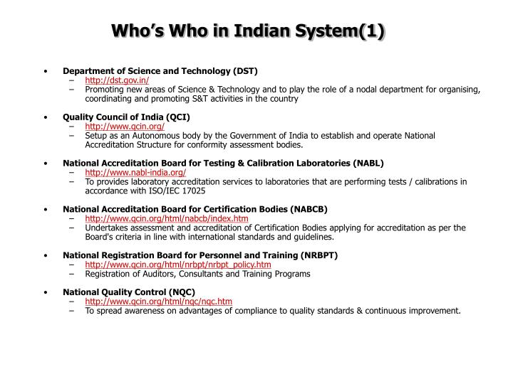 Who's Who in Indian System(1)