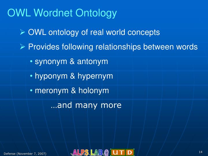 OWL Wordnet Ontology