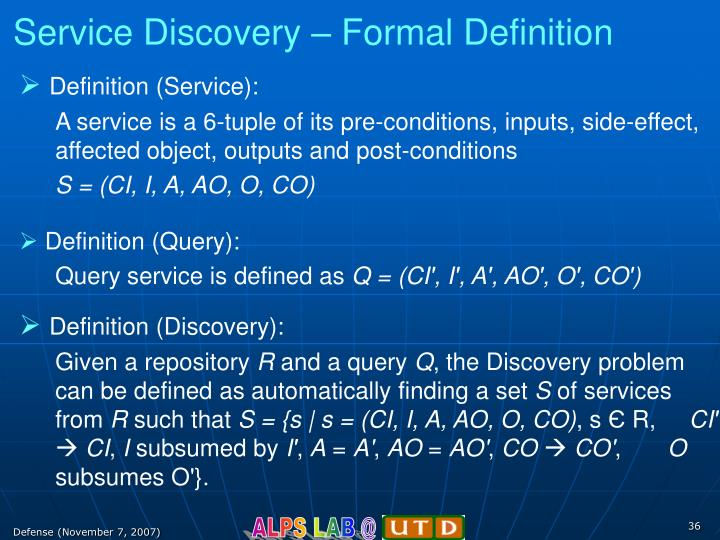 Service Discovery – Formal Definition