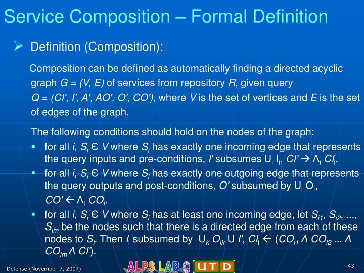 Service Composition – Formal Definition