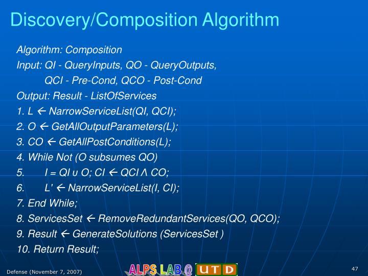 Discovery/Composition Algorithm