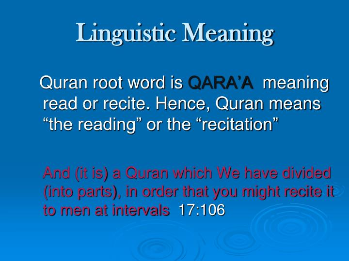 Linguistic Meaning