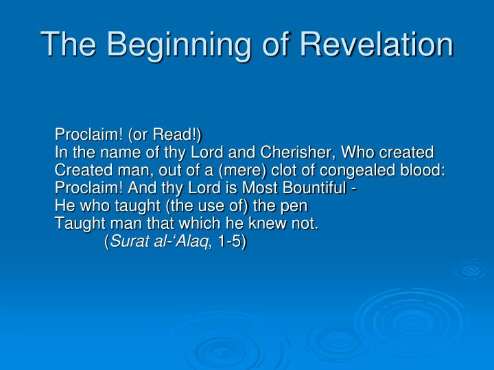 The Beginning of Revelation