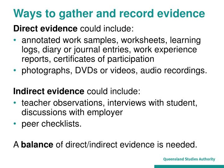 Ways to gather and record evidence