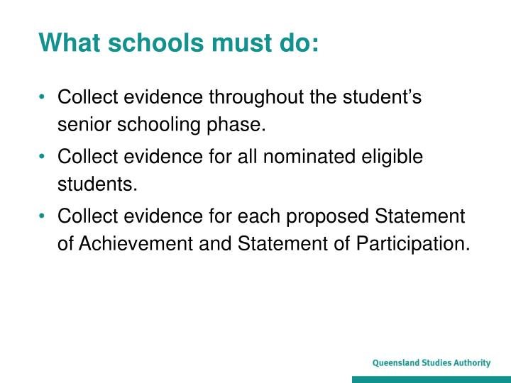 What schools must do: