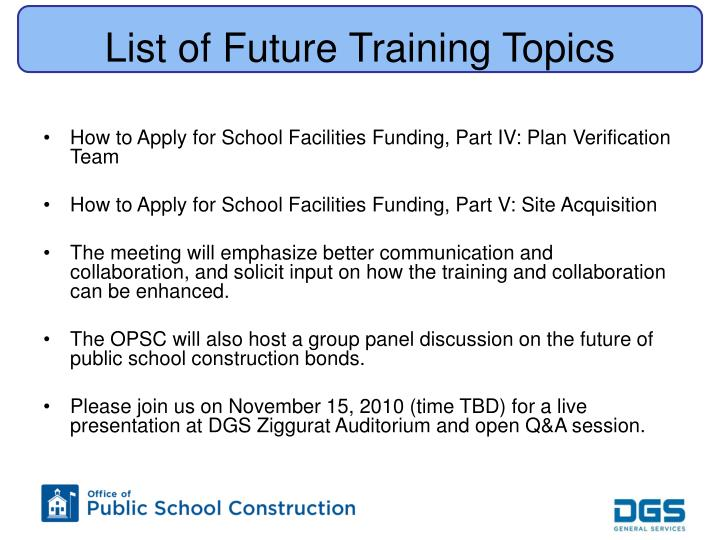 List of Future Training Topics