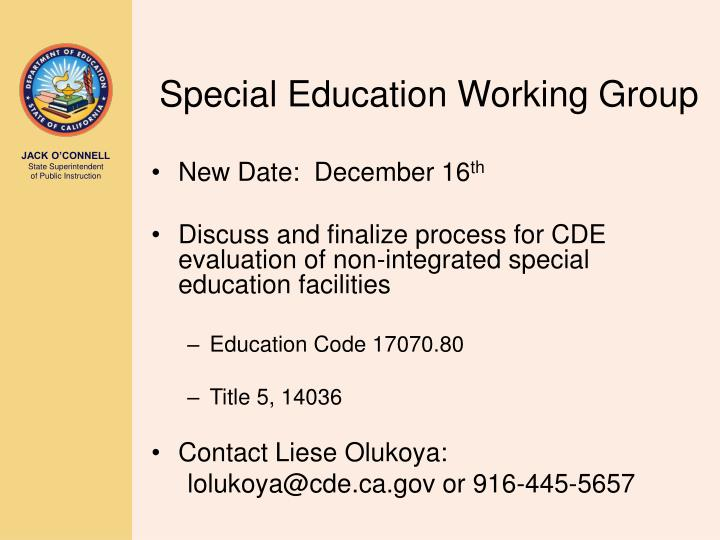 Special Education Working Group