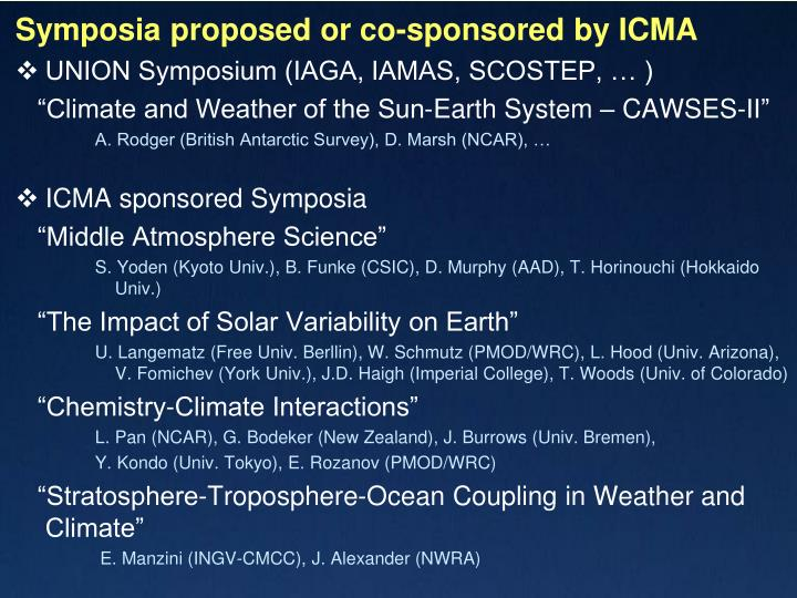 Symposia proposed or co-sponsored by ICMA