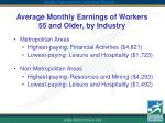 average monthly earnings of workers 55 and older by industry