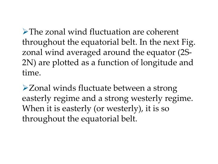 The zonal wind fluctuation are coherent throughout the equatorial belt. In the next Fig. zonal wind averaged around the equator (2S-2N) are plotted as a function of longitude and time.
