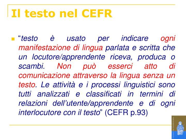 Il testo nel CEFR