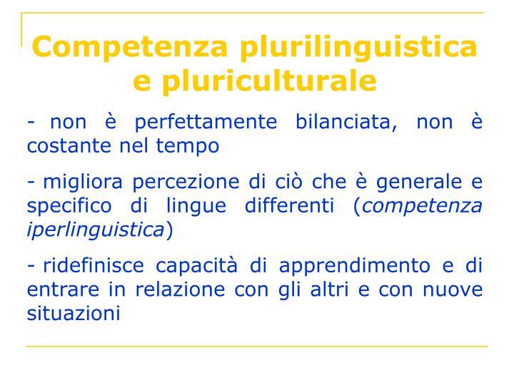 Competenza plurilinguistica e pluriculturale