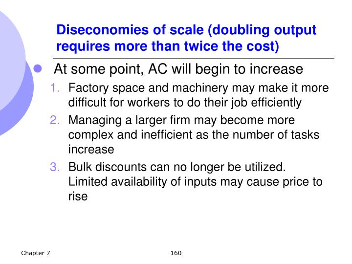 Diseconomies of scale (doubling output requires more than twice the cost)