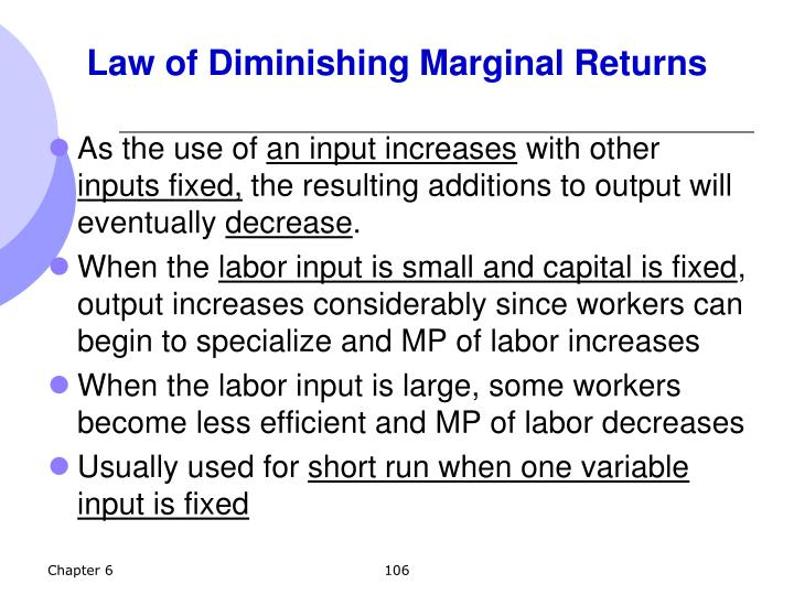 Law of Diminishing Marginal Returns