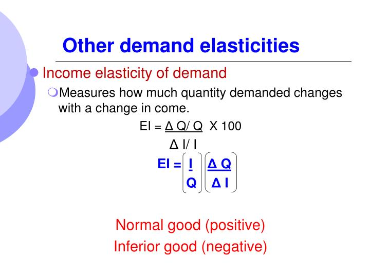 Other demand elasticities