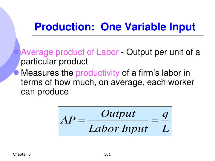 Production:  One Variable Input