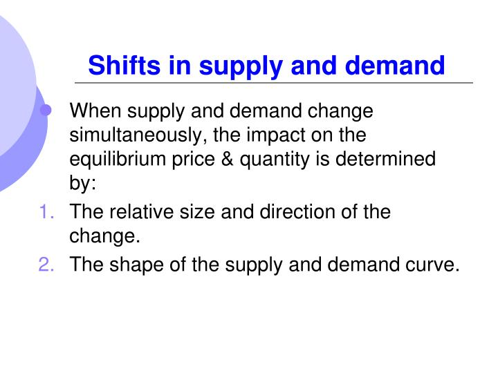 Shifts in supply and demand