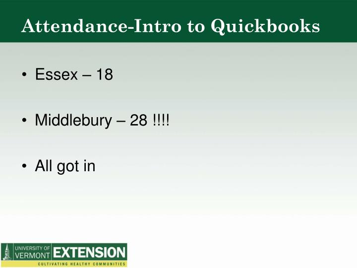 Attendance-Intro to Quickbooks