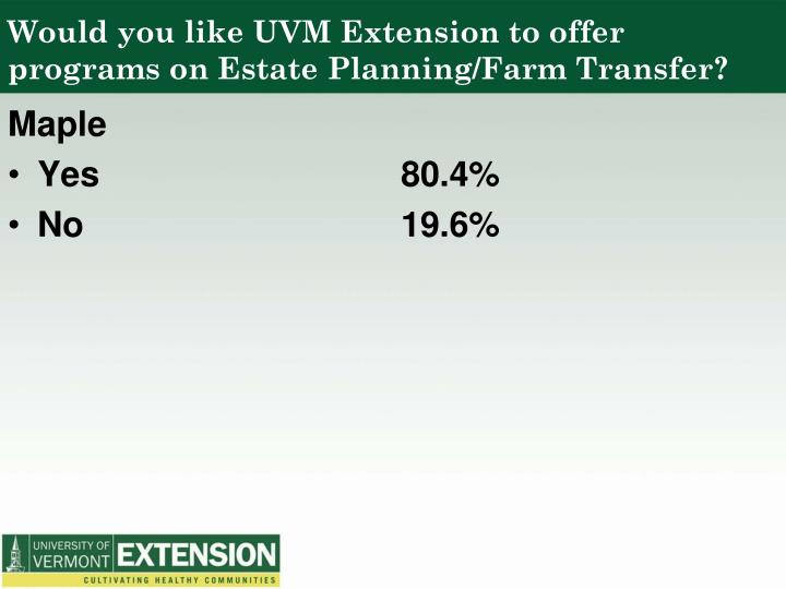 Would you like UVM Extension to offer programs on Estate Planning/Farm Transfer?