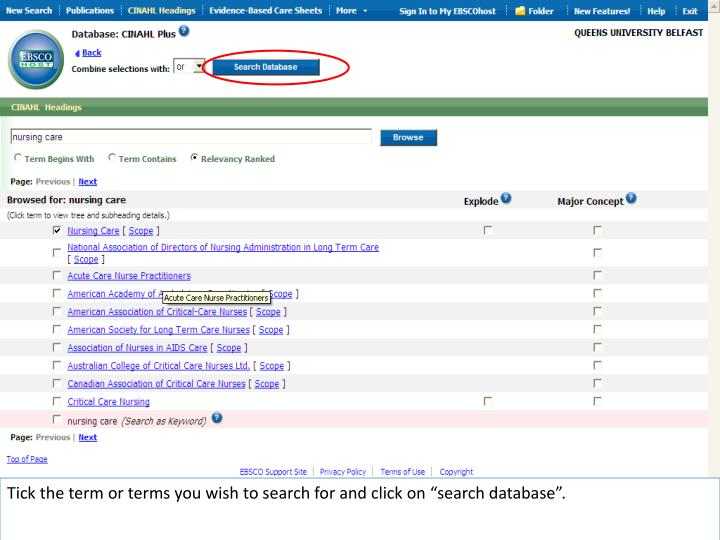 "Tick the term or terms you wish to search for and click on ""search database""."