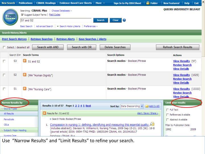 "Use  ""Narrow Results"" and ""Limit Results"" to refine your search."
