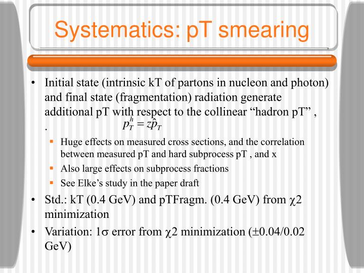 Systematics: pT smearing