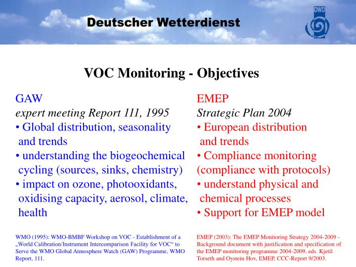 VOC Monitoring - Objectives
