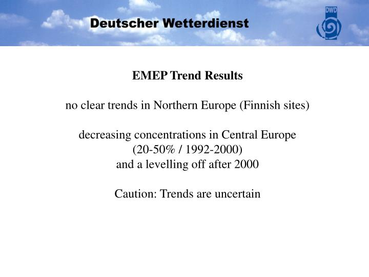 EMEP Trend Results