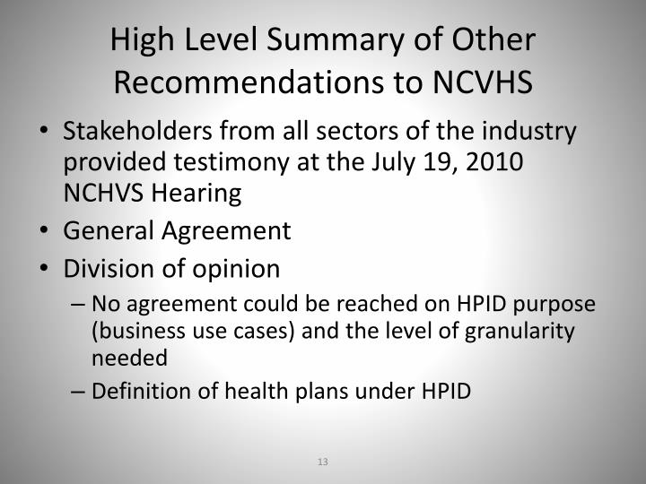High Level Summary of Other Recommendations to NCVHS