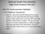 national health plan identifier high level analysis from x122