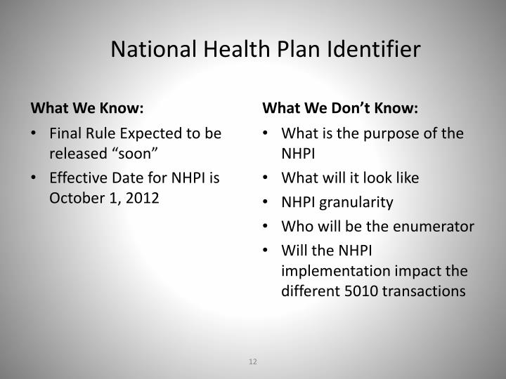 National Health Plan Identifier