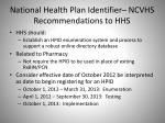 national health plan identifier ncvhs recommendations to hhs2