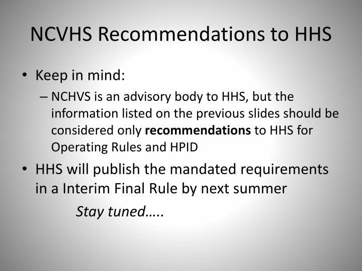 NCVHS Recommendations to HHS