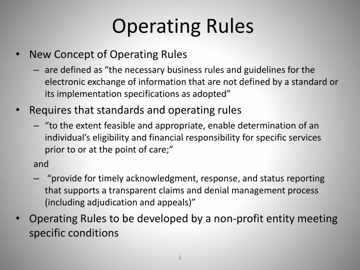 Operating Rules