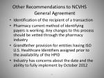 other recommendations to ncvhs general agreement
