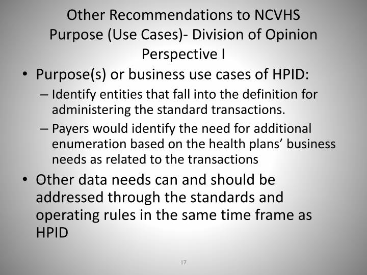 Other Recommendations to NCVHS