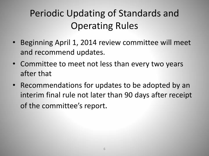 Periodic Updating of Standards and Operating Rules