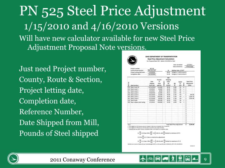 PN 525 Steel Price Adjustment