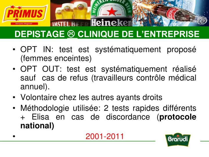 OPT IN: test est systématiquement proposé (femmes enceintes)