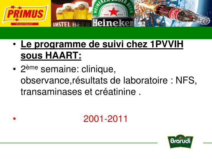 Le programme de suivi chez 1PVVIH sous HAART: