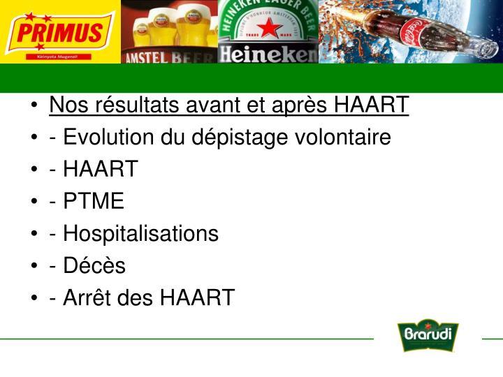Nos résultats avant et après HAART