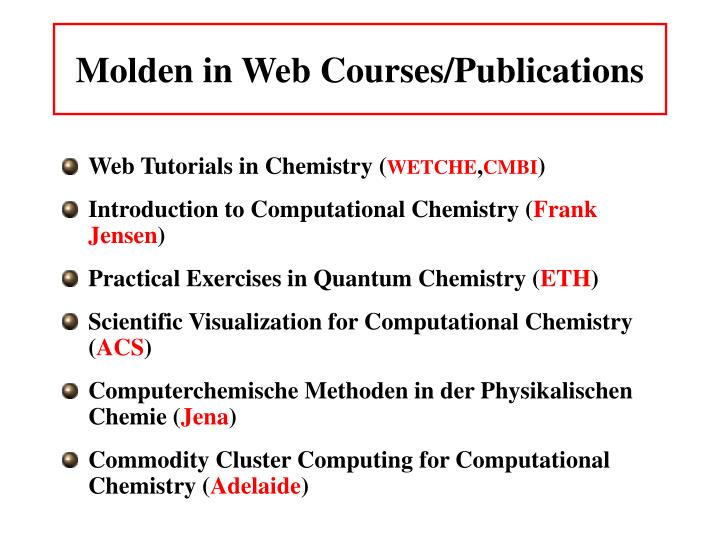 Molden in Web Courses/Publications