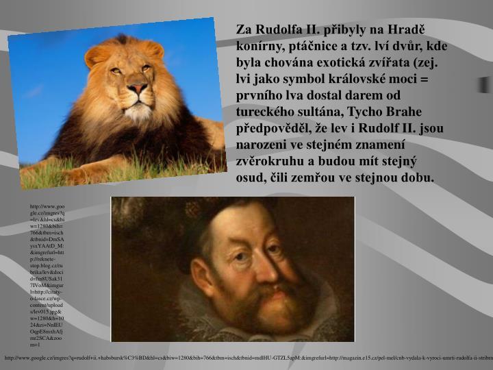 Za Rudolfa II. přibyly na Hradě konírny, ptáčnice a tzv. lví dvůr, kde byla chována exotická zvířata (zej. lvi jako symbol královské moci = prvního lva dostal darem od tureckého sultána, Tycho Brahe předpověděl, že lev i Rudolf II. jsou narozeni ve stejném znamení zvěrokruhu a budou mít stejný osud, čili zemřou ve stejnou dobu.