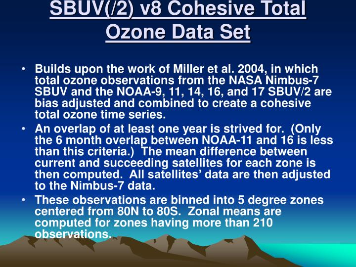 SBUV(/2) v8 Cohesive Total Ozone Data Set