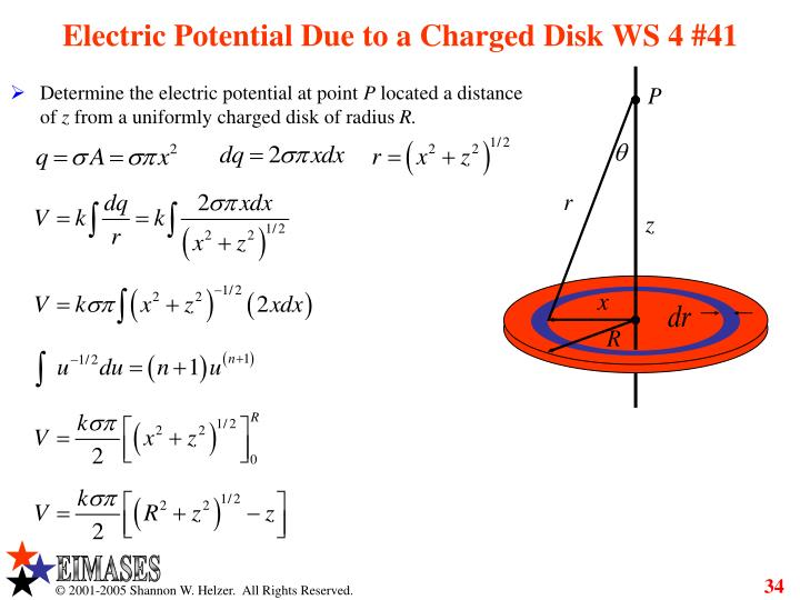 Electric Potential Due to a Charged Disk WS 4 #41