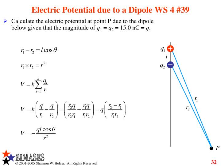Electric Potential due to a Dipole WS 4 #39