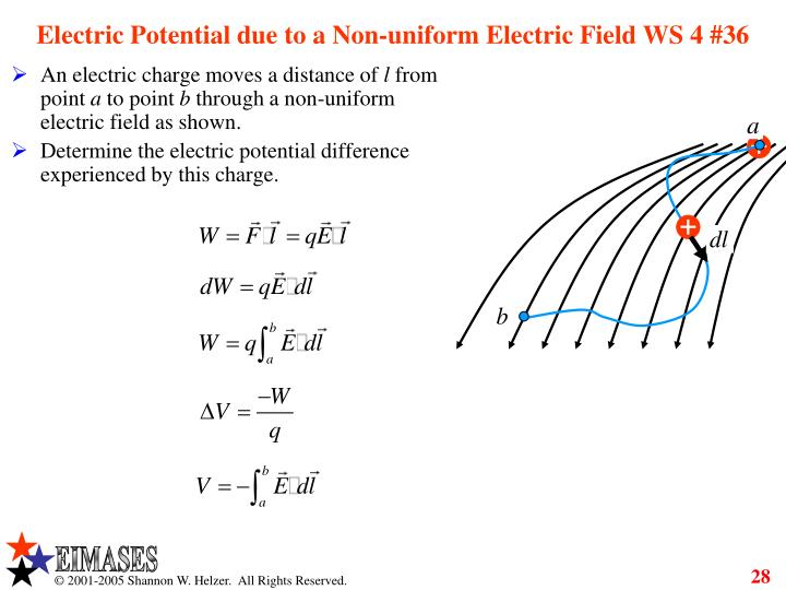 Electric Potential due to a Non-uniform Electric Field WS 4 #36
